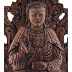 Vintage Sitting Buddha Carved From Wood With