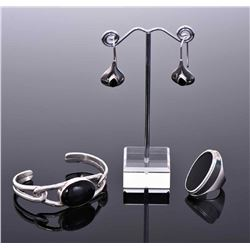 Black Onyx Sterling Silver Cuff Bracelet,