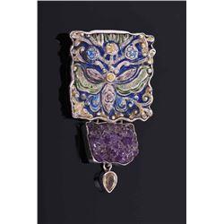 Vintage Sterling Silver handmade large pendant