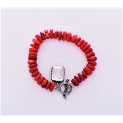 Sterling Silver Red Coral Disc Bracelet.