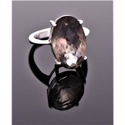 Vintage Smokey Quartz Diamond Cut Sterling