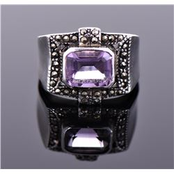 Vintage Amethyst and Marcasite Sterling Silver