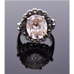 Vintage Morganite Sterling Silver Ring. Silver