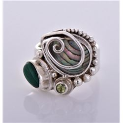 Vintage Sajen Abalone And Marcasite Sterling