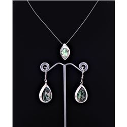 Sterling Silver Abalone Necklace Earrings And
