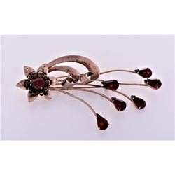 Antique Large Sterling Silver Garnet Brooch.