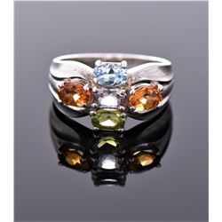 Vintage Multi Color Stone Sterling Silver Ring