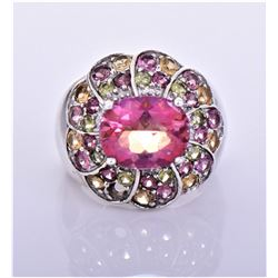 Vintage Pink Sapphire, Peridot And Golden