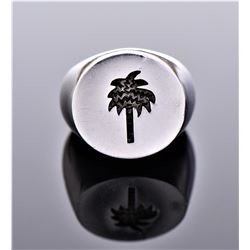 Palm Tree Sterling Silver Ring. Marked 925 LP