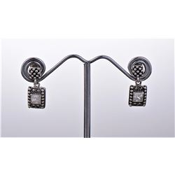 Vintage Marcasite and CZ Sterling Silver Earrings
