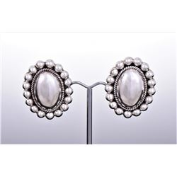 Sterling Silver Oval and Ball Earrings. Silver