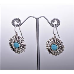 Sterling Silver Turquoise Sunflower Starburst