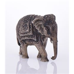 Antique Burmese Sterling Silver Elephant.