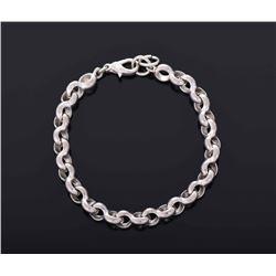 Chunky Sterling Silver Link Clasp Bracelet.