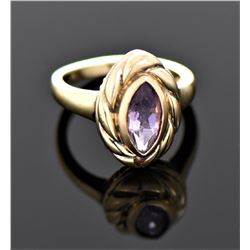 Vintage Marquise Cut Amethyst Gold Over Sterling