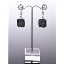 Vintage Sterling Silver Granite Stone Earring