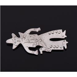 Cowboy Sterling Silver Brooch Pin, Mexico.