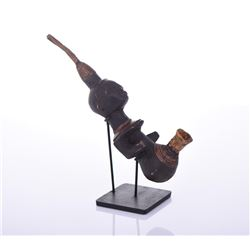 African Luba Wood, Copper And Animal Skin Pipe