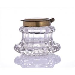 Exquisite Antique Heavy Crystal and Brass Inkwell