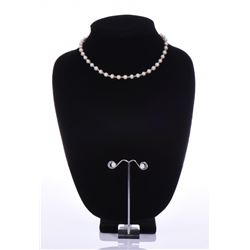 14k Gold Pearl Necklace And Earrings. Base