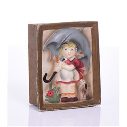 Vintage Rainy Day Umbrella Girl And Dog Music