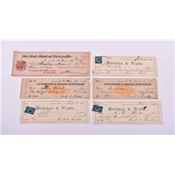 Six Antique Unites States American Bank Check