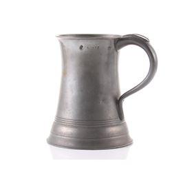 Antique pewter quart size mug with Maker Hall
