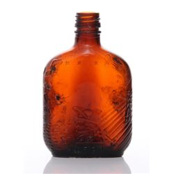 Mid Century brown glass whiskey bottle. The ""