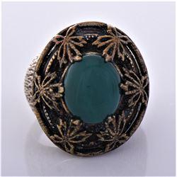Vintage Bronze Green Carnelian Ring.