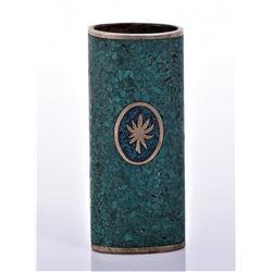Vintage Bronze/Brass Crushed Turquoise Lighter