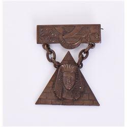 Antique Mecca masonic bronze Scimitar pin by
