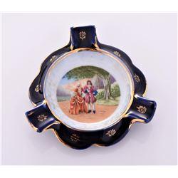 Limoges Hand Painted Porcelain ashtray, France