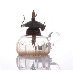 Antique American Glass Oil Lamp.