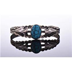 Nickel silver Navajo cuff bracelet with