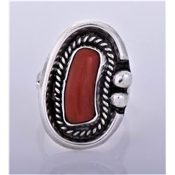 Navajo Red Coral Sterling Silver Shadow Box