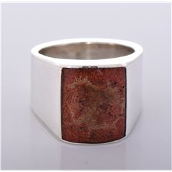 Chimney Butte, Red Coral Sterling Silver Ring