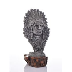 Native American Chief Pewter Bust Mounted