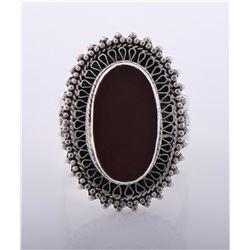 Vintage Sterling Silver Cornelian Ring. Silver