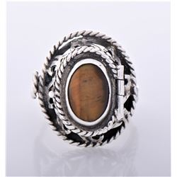 Vintage Tiger Eye Sterling Silver Poison Ring