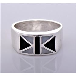 Vintage Inlaid Black and White Onyx Sterling