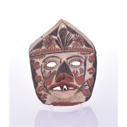 Vintage Mexican Hand Painted Pottery Mask.
