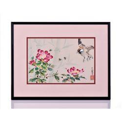 Vintage Japanese Watercolor. Estimated less