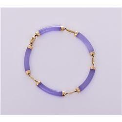 14k Gold Lavender Jadeite Link Bracelet.