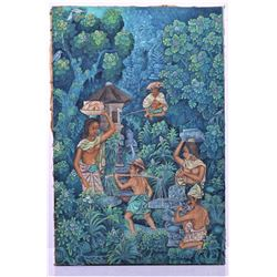Vintage Balinese Oil On Canvas Painting Of A