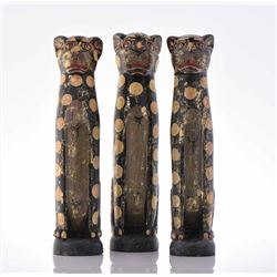 Three Balinese Wood Carved Leopards. Estimate