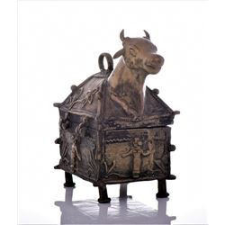 Antique Brass Bull Travelers Box, India.