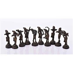 Ten Vintage Bronze Figurines of An Orchestra.