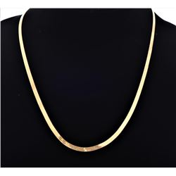 14kt yellow gold vintage herringbone necklace