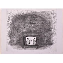 J. Marshall New, etching, Abstract Expression