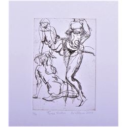 "De Villen etching 2008 ""Three Nudes"" Abstract"